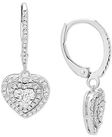 Diamond Heart Drop Earrings (1/2 ct. t.w.) In Sterling Silver, Gold-Plated Sterling Silver or Rose Gold-Plated Sterling Silver