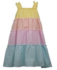 Little Girls Color Blocked Seersucker Sundress