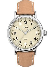 Men's Standard Tan Leather Strap Watch 40mm