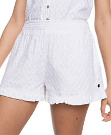 Juniors' Piece of Time Cotton Embroidered Shorts