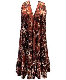 Plus Size Printed Ruffle-Hem Dress