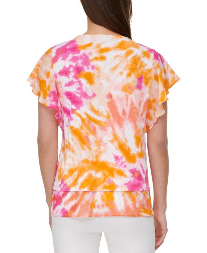 Calvin Klein Tie-Dye Sheer-Trim Top & Reviews - Tops - Women - Macy's