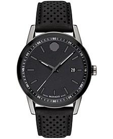 Men's Swiss Museum Sport Black Leather Strap Watch 42mm