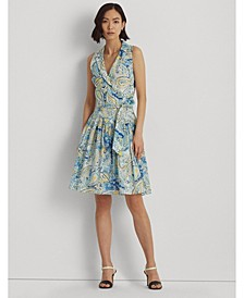 Petite Paisley Cotton Voile Fit-and-Flare Dress