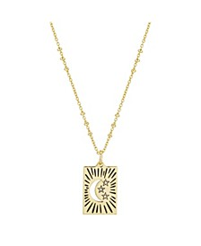 """Gold Flash-Plated Talisman Moon & Star Pendant Necklace, 16+2"""" Ext"""