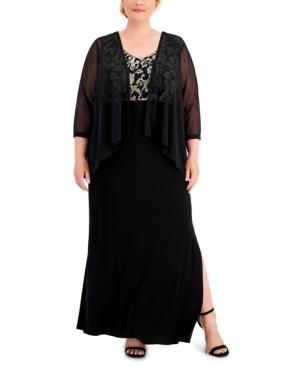 Plus Size Embroidered Dress & Chiffon Jacket Set