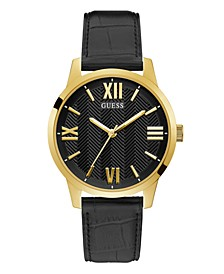 Men's Gold-Tone Black Leather Watch 42mm