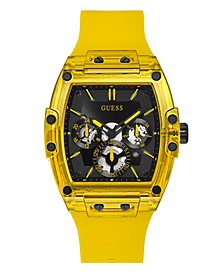 Men's Yellow Silicone Multi-Function Watch 43mm