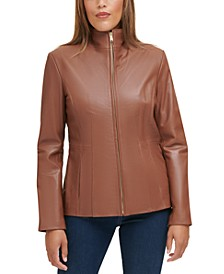 Wing Collar Leather Coat