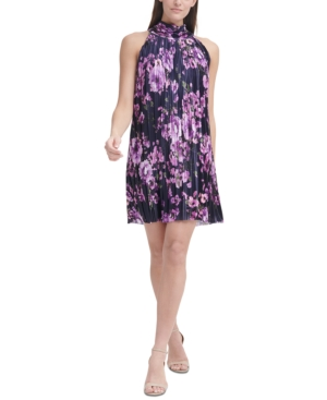 Floral-Print Chiffon Trapeze Shift Dress