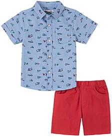 Toddler Boys 2-Piece Dinosaur Print Short Sleeve Shirt and Twill Shorts Set