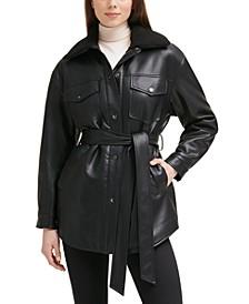 Belted Faux-Leather & Faux-Fur-Trim Shirt Jacket