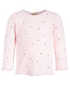 Toddler Girls Dot-Print Ribbed Top, Created for Macy's