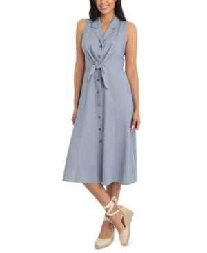 Plus Size Tie-Front Collared-Lapel Midi Shirtdress