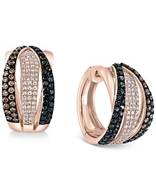 EFFY® Multicolor Diamond Hoop Earrings (1-1/8 ct. t.w.) in 14k Rose Gold