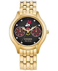 Eco-Drive Women's Minnie Mouse Gold-Tone Stainless Steel Bracelet Watch 30mm