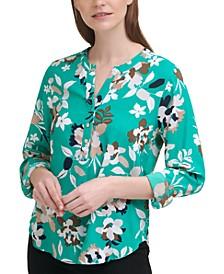 Floral-Print Button-Front V-Neck Top