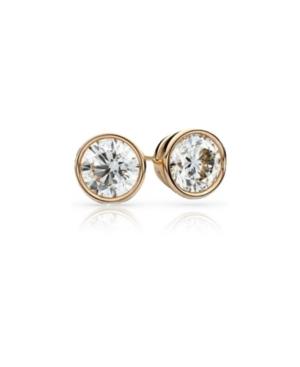 18k Gold Cubic Zirconia Bezel Stud Earrings