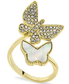 Gold Plated Pavé & Mother-of-Pearl Double Butterfly Bypass Ring, Created for Macy's