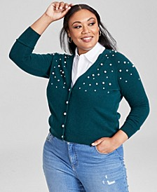 Plus Size Beaded Cashmere Cardigan, Created for Macy's