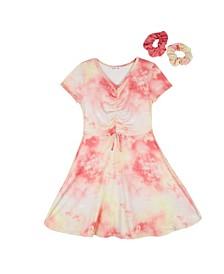 Big Girls Tie Dye Print Shirred Bodice Dress with 2 Scrunches