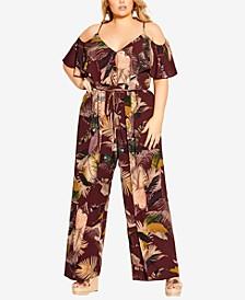 Trendy Plus Size Tropic Heat Jumpsuit