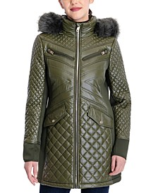 Faux-Fur-Trim Hooded Quilted Coat