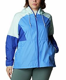 Plus Size Active Side Hill Colorblock Windbreaker Jacket