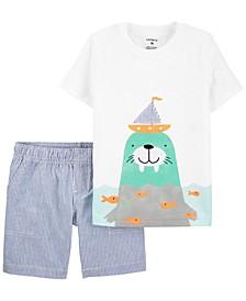 Baby Boys Walrus Jersey T-shirt Striped Short, 2 Piece Set