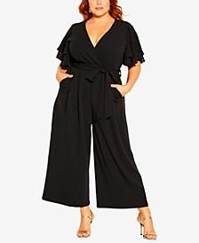 Plus Size Flutter Sleeve Jumpsuit