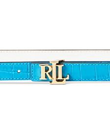 Reversible Blue Leather Belt