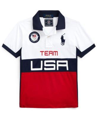 폴로 랄프로렌 남아용 폴로셔츠 Polo Ralph Lauren Toddler Boys Team USA Stretch Mesh Polo T-shirt,Pure White Multi