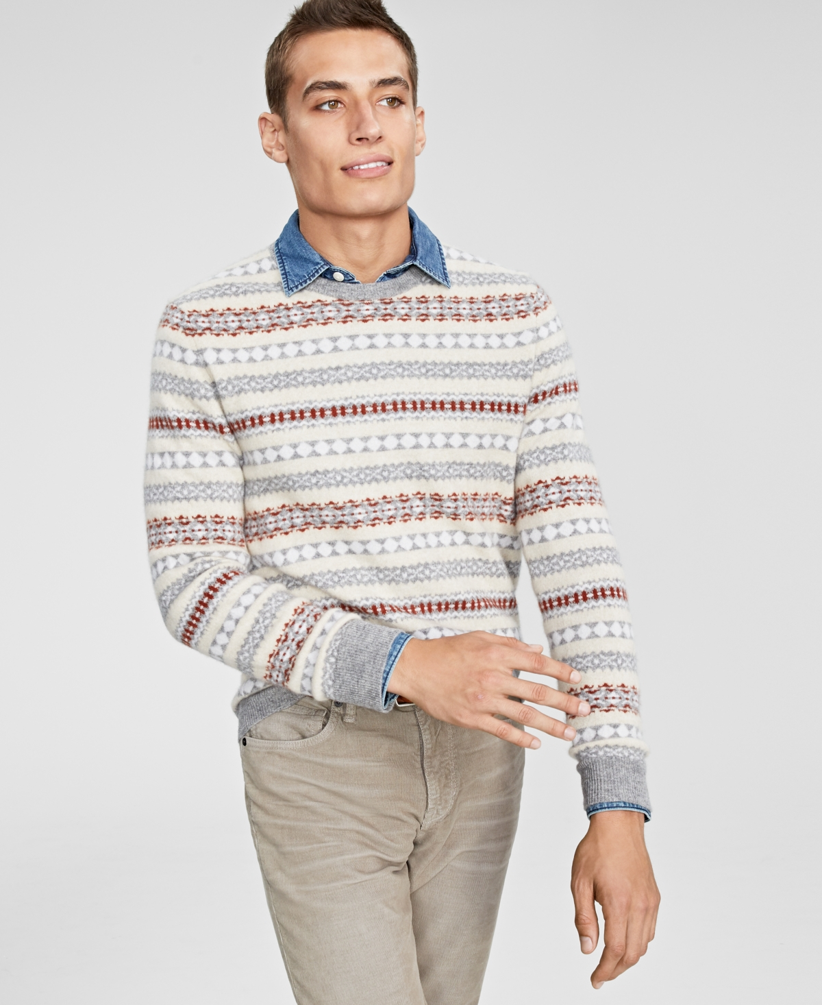 1920s Men's Sweaters, Cardigans, Knitwear Club Room Mens Fair Isle Cashmere Sweater Created for Macys $185.00 AT vintagedancer.com