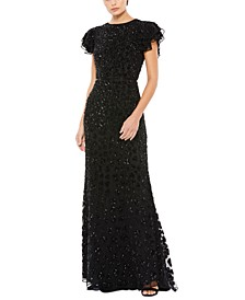 Short-Sleeve Sequined Gown