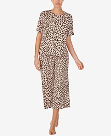 Printed Cropped Pajama Pants Set