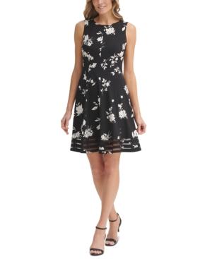 Floral-Print Fit & Flare Mesh-Hem Dress