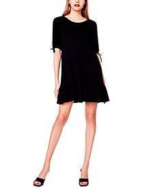 Bow-Sleeve French Terry Dress