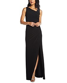 Embellished-Back Asymmetrical Gown