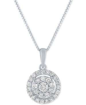 Lab-Created Diamond Halo Cluster Pendant Necklace (1/2 ct. t.w.) in Sterling Silver