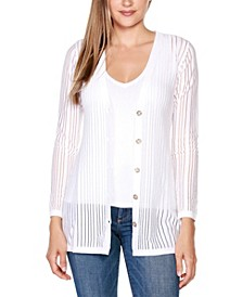 Black Label Petite Striped Long Sleeve Button-Front Cardigan Sweater