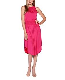 Black Label Petite Embellished Halter Dress with Smocked Waist
