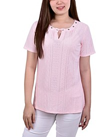 Women's Short Sleeve Knit Eyelet Top with Grommets