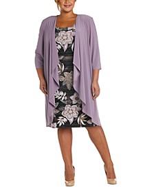 Plus Size Draped Jacket & Printed Dress Set
