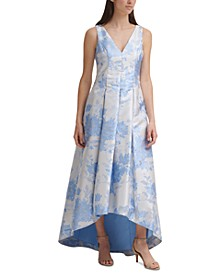 Printed High-Low Ball Gown