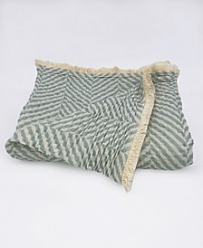 "Herringbone Tri-Weave Matelasse Cotton Throw Blanket, 70"" x 50"""