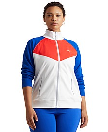 Plus-Size Color-Blocked French Terry Jacket