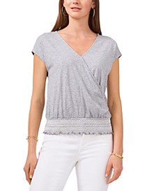 Embroidered-Waist Faux-Wrap Top