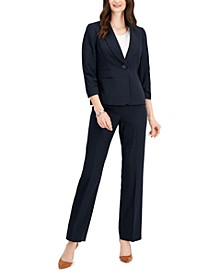 Ruched-Sleeve One-Button Pantsuit, Regular & Petite Sizes