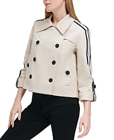Cropped Logo Tape Trench Coat