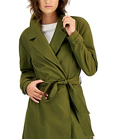 Petite Dropped-Shoulder Belted Trench Jacket, Created for Macy's